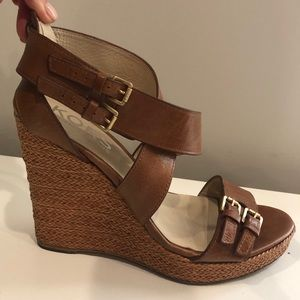 Michael Kors brown strappy wedge